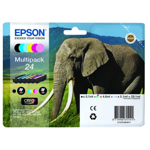 """EPSON Multipack 6 couleurs """"Eléphant"""" - T2428"""