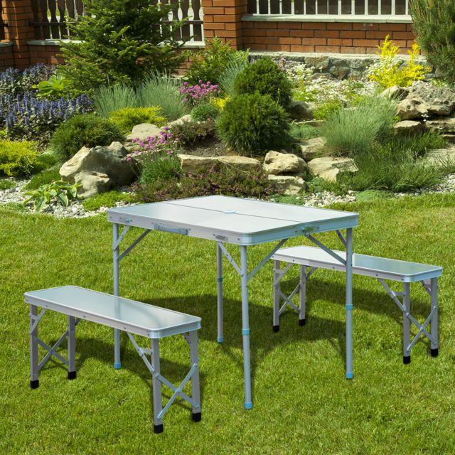 Outsunny table de camping pliable portable avec 2 bancs - Table de camping avec banc ...