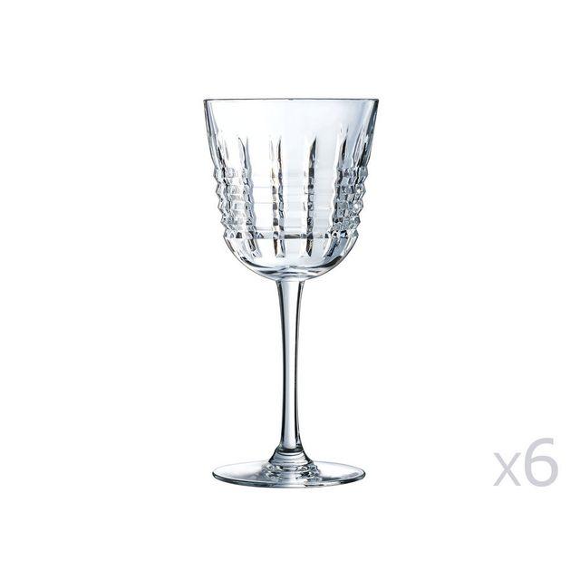 Cristal D'ARQUES Verre à pied en cristallin 25cl - Lot de 6 Rendez Vous