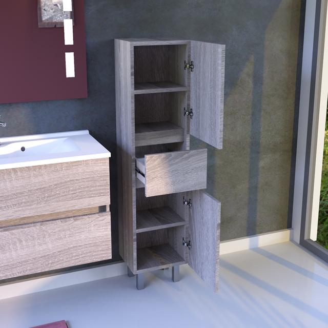 CREAZUR Armoire de salle de bain réversible UNIVERS - Cambrian oak