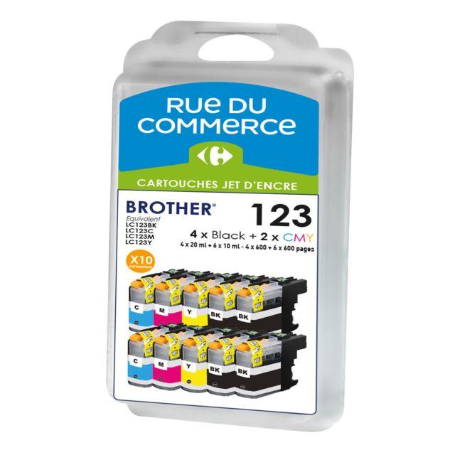 RUE DU COMMERCE Pack de 10 cartouches compatibles Brother LC123 BK/C/M/Y