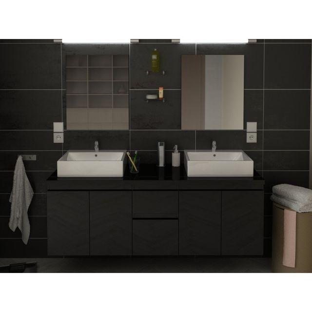 ma maison mes tendances meuble de salle de bain double vasque 150 cm noir coralie l 150 x l. Black Bedroom Furniture Sets. Home Design Ideas