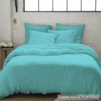 Selene Et Gaia - Parure housse de couette lin lavé uni turquoise taie bourdon noir - Lin Aqua Couleur - Aqua, Taille - Housse 200x200 + 2 taies 64x64