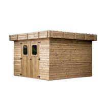 Habrita - Abri en bois 19 mm -traité très haute température -toit plat - 8,76 m²