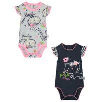 Lot de 2 bodies manches courtes bébé fille Jungle Flowers - Taille - 36 mois e1faa91f59b