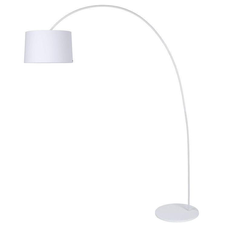 Lampadaire arc en acier et abat jour cylindre en coton hauteur 200cm Paxi - Blanc