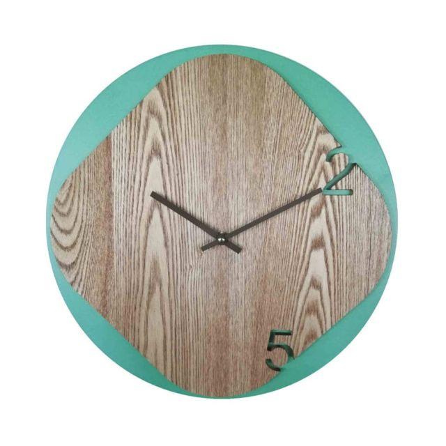Mobili Rebecca Horloge Décorative Vert Bois Style Scandinave Decor 40x40x5