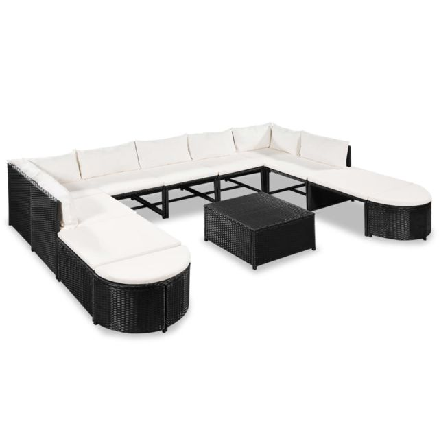 VIDAXL Mobilier de jardin 32 pcs Résine tressée Noir et blanc crème