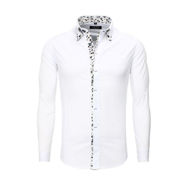 57b92f5841a6 Carisma - Chemise casual blanche avec fleurs - pas cher Achat   Vente  Chemise homme - RueDuCommerce