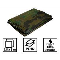 Tecplast - Bâche camouflage verte et noire 140g/m² - Bâche militaire 1,8x3 m - Bâche de protection en polyéthylène
