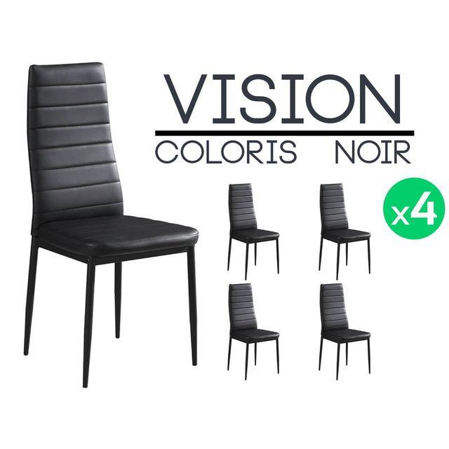 altobuy vision lot de 4 chaises noires pas cher achat vente chaises rueducommerce. Black Bedroom Furniture Sets. Home Design Ideas