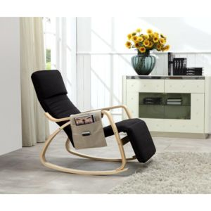 paolo collaner rocking chair fauteuil relaxation avec organisateur noir rocking chair sans. Black Bedroom Furniture Sets. Home Design Ideas