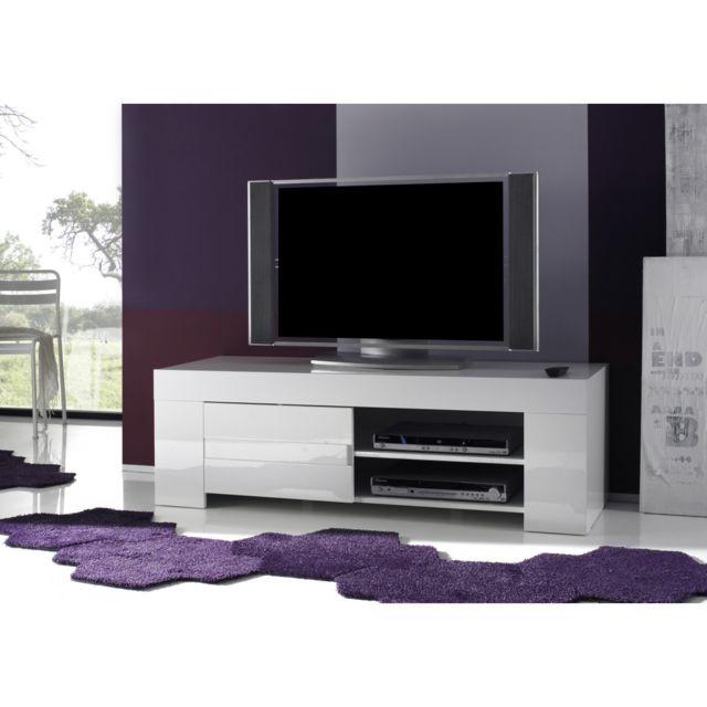 Subleem Base tv petit avec une porte Sellero blanc laqué brillant