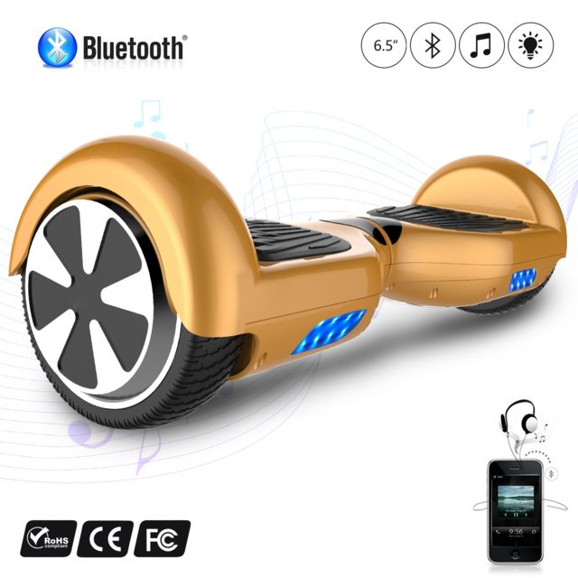 COOL AND FUN - COOL&FUN Hoverboard Batterie certifié CE Bleutooth, gyropode 6,5 pouces Doré