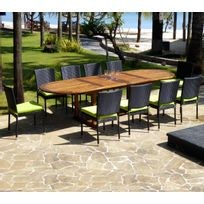 salon de jardin en teck grande taille - 10 chaises résine tressée