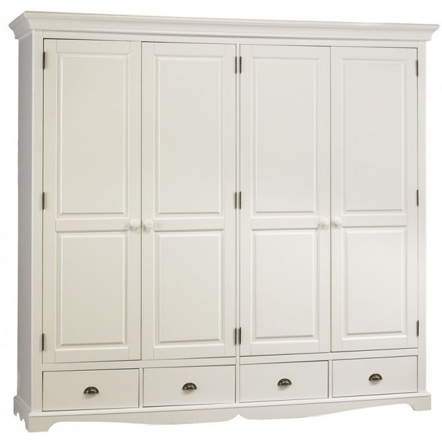 beaux meubles pas chers grande armoire penderie blanche de style anglais 54cm x 212cm x 195cm. Black Bedroom Furniture Sets. Home Design Ideas