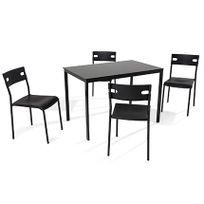 Ensemble table + 4 chaises coloris noir