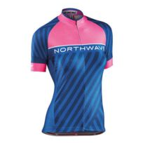 Northwave - Maillot Logo Woman 3 manches courtes rose fluo bleu femme