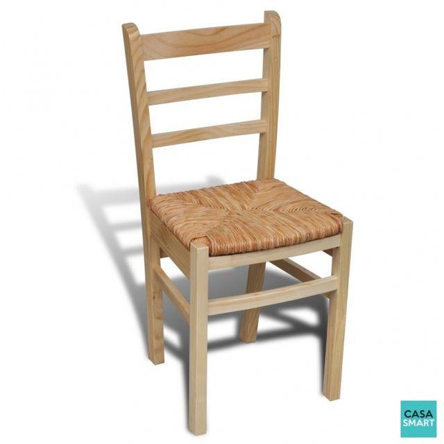 Casasmart Lot de 2 Chaises de salle à manger en bois naturel