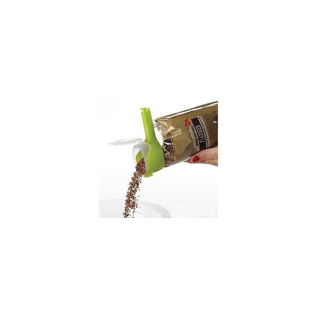 Alpexe Magique pince a sachet avec bec verseur integre refermable 13 x 6 cm Farine, sucre cafe pattes riz sel etc