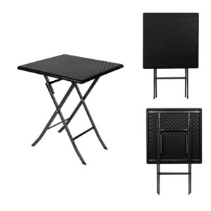toolland table d 39 appoint pliante carre interieur exterieur fa on rotin pas cher achat. Black Bedroom Furniture Sets. Home Design Ideas