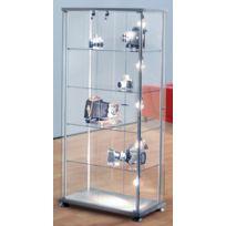 Kerkmann - Vitrine exposition en verre - colonne rectangulaire - H 1.800 - verre et aluminium