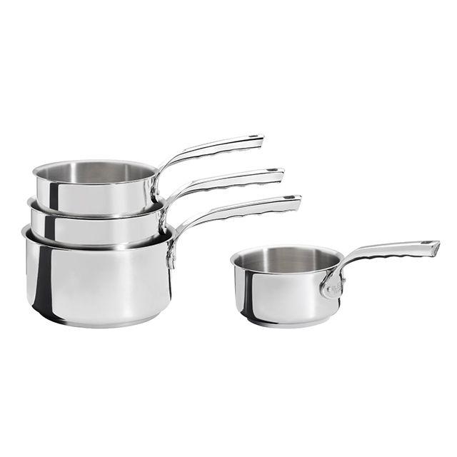 DE BUYER lot de 4 casseroles inox 14,16,18 et 20 cm - 3410.04