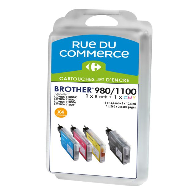 RUE DU COMMERCE Pack de 4 cartouches compatibles Brother LC980/LC1100 BK/C/M/Y Cartouches compatibles Brother LC980/LC1100 BK/C/M/Y - Noir : 1x30 ml + Couleurs : 3x20 ml