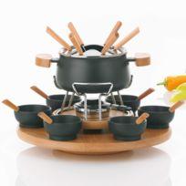 Kela - Manège à fondue pour 6 personnes en bois avec coupelle en céramique noir Natura