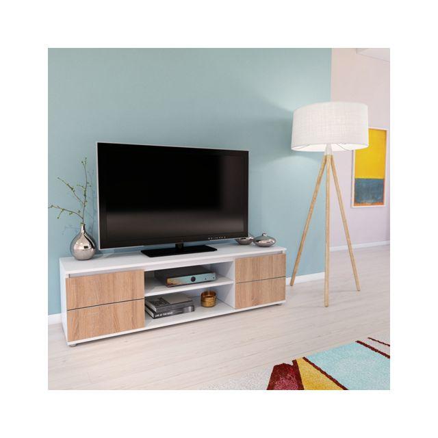 No Name Meuble Tv / Vidéo Como 140 cm 2 portes + 1 niche / Blanc et Chêne blanchi