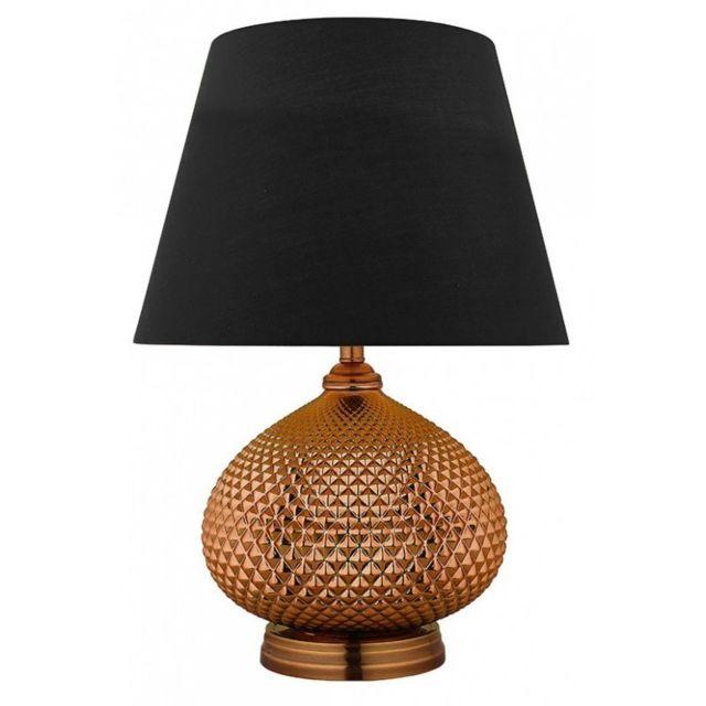 Meubletmoi Lampe A Poser Metal Effet Cuivre Abat Jour Tissus Noir