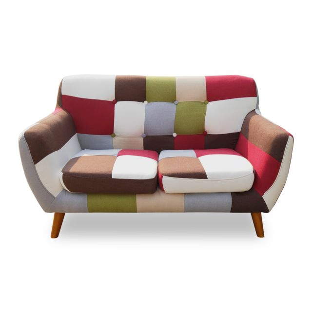 MENZZO Canapé scandinave 2 places Bombay Multicolore