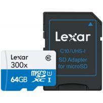Lexar - Carte Micro-SDXC 64 Go 633x avec adaptateur / lecteur de carte