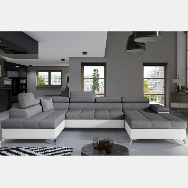 Nouvomeuble Canapé lit panoramique gris et blanc Edna