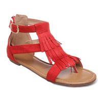 Lamodeuse - Sandales plates rouges à franges