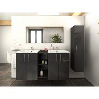 Ma Maison Mes Tendances - Meuble de salle de bain double vasque 120 cm + 1 colonne Gris Laura - L 120 x l 46 x H 60