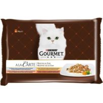 Gourmet - A La Carte Recettes du Chef au poisson de l'Océan, a la dinde, au saumon, au canard - Pour chat adulte - 4 x 85 g