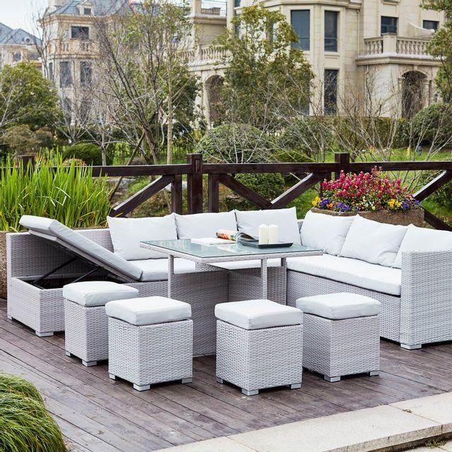 CONCEPT USINE - Fidji Gris/Blanc : salon de jardin encastrable en ...