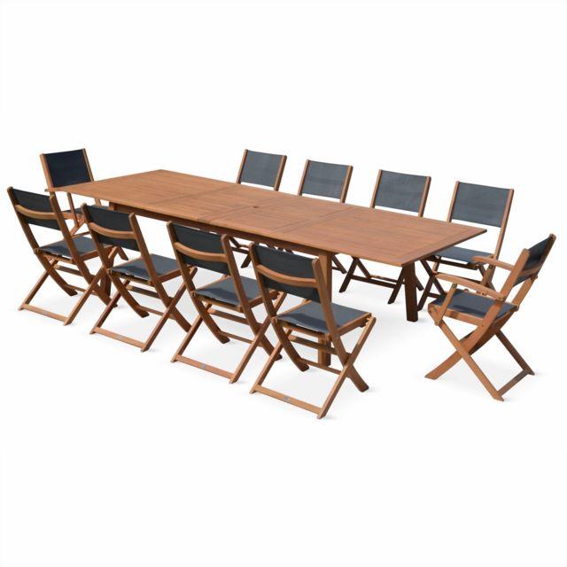 ALICE\'S GARDEN - Salon de jardin en bois extensible - Almeria table ...