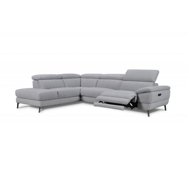 MEUBLETMOI Canapé d'angle gauche relaxation Tissu gris - MONTANA