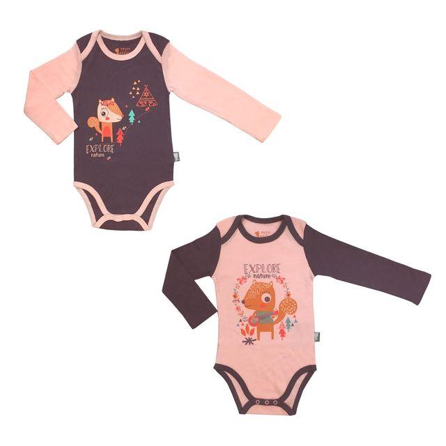 Petit Beguin - Lot de 2 bodies bébé fille manches longues Noisette - Taille  - 9 0f01c930f25