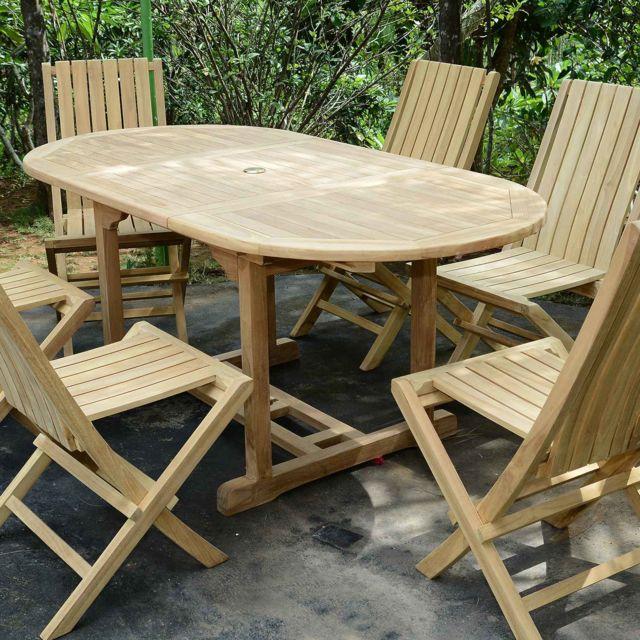 90 Table en TECK'ATTITUDE x 180 de Jardin Teck Extensible l1JFTKc