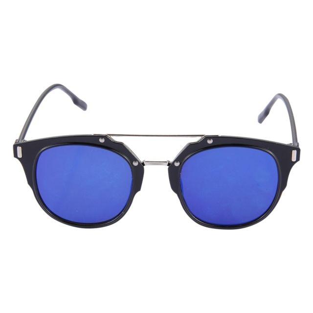 Wewoo - Lunettes pour femme noir et bleu Uv400 Uv Protection Métal + Pc  Cadre Ac Lens Lunettes de Soleil - pas cher Achat   Vente Lunettes Tendance  - ... 4a4f07795438