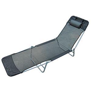 homcom chaise longue pliante bain de soleil inclinable transat textilene lit jardin plage noir. Black Bedroom Furniture Sets. Home Design Ideas