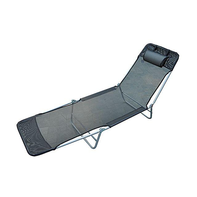 HOMCOM Chaise longue pliante bain de soleil inclinable transat textilene lit jardin plage noir 36