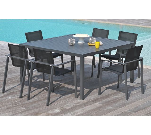 DCB GARDEN Table carré en aluminium gris anthracite