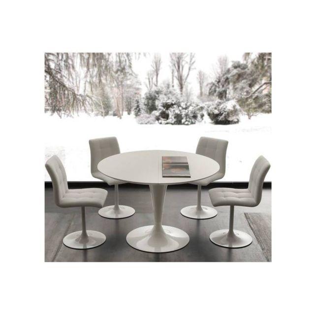 Inside 75 Table de repas extensible Tulipe Island 120 cm Laque Quartz blanc