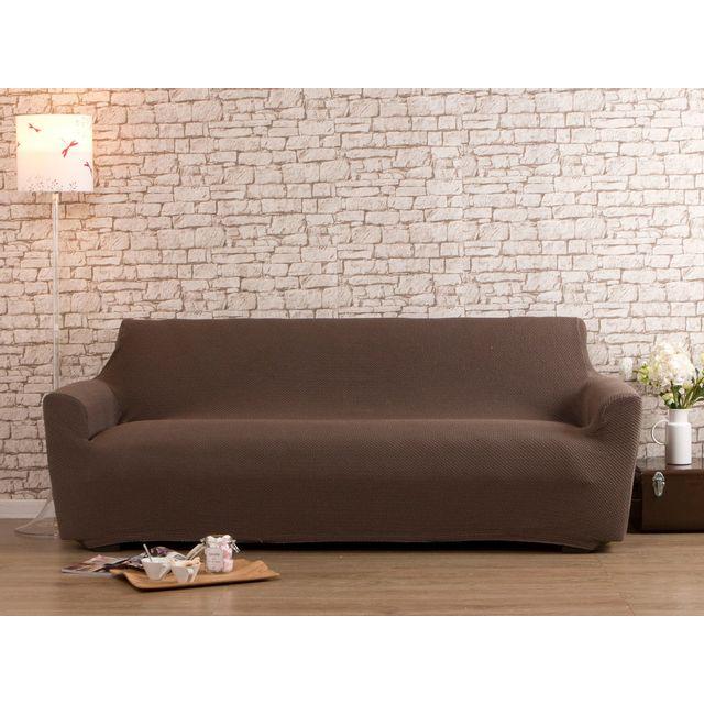 dlm housse de canap taupe 3 places bi extensible lisa. Black Bedroom Furniture Sets. Home Design Ideas