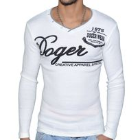 Doger Wear - Pull Col V - Homme - Sd 64 - Blanc