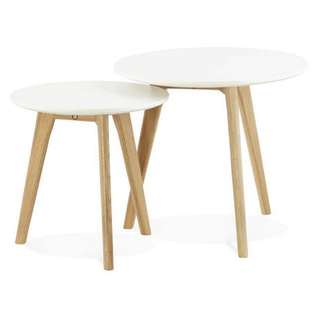 TECHNEB Tables basses design gigognes ART en bois et chêne massif blanc